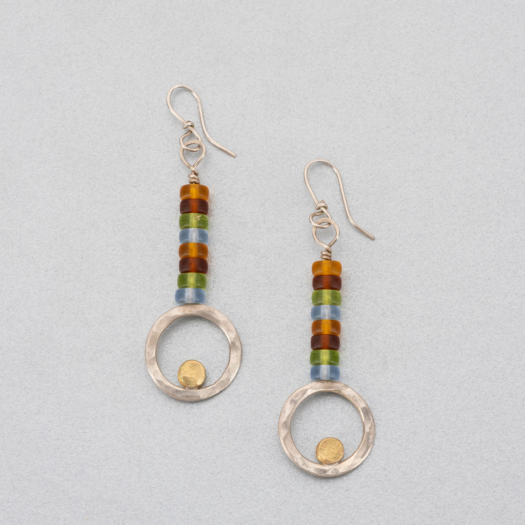 Sea glass, silver and 18ct gold earrings