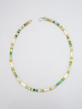 Load image into Gallery viewer, Dyed amber, sea glass and silver beaded necklace