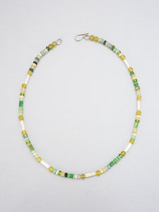 Dyed amber, sea glass and silver beaded necklace