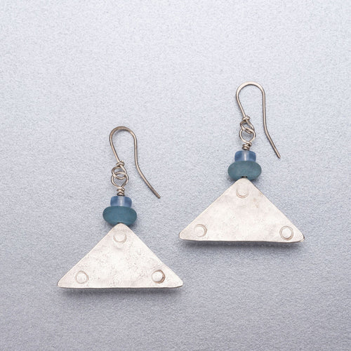 Quartz and sea glass silver earrings