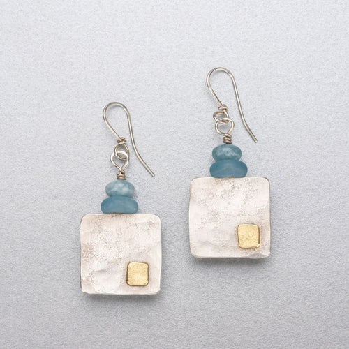 Blue lace agate, quartz and silver earrings with 18ct gold