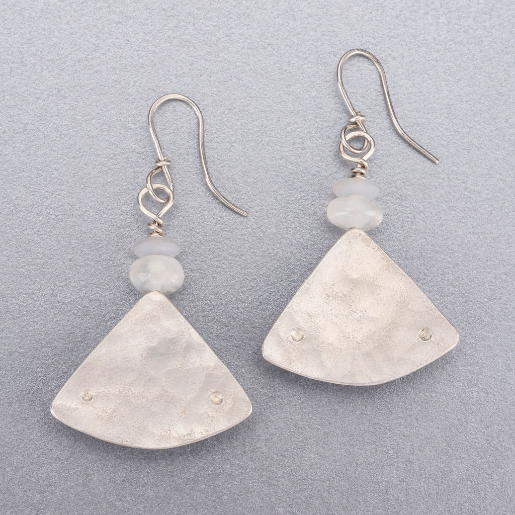 Moonstone and quartz silver earrings