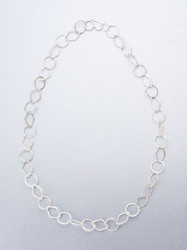 Hand beaten silver chain with round and diamond shaped links