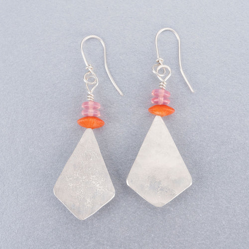 Coral, rose quartz and silver earrings