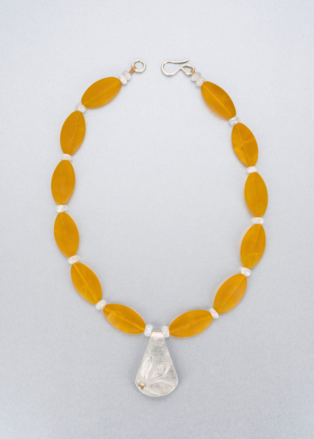 Sea glass, moonstone, silver and 18 ct gold necklace