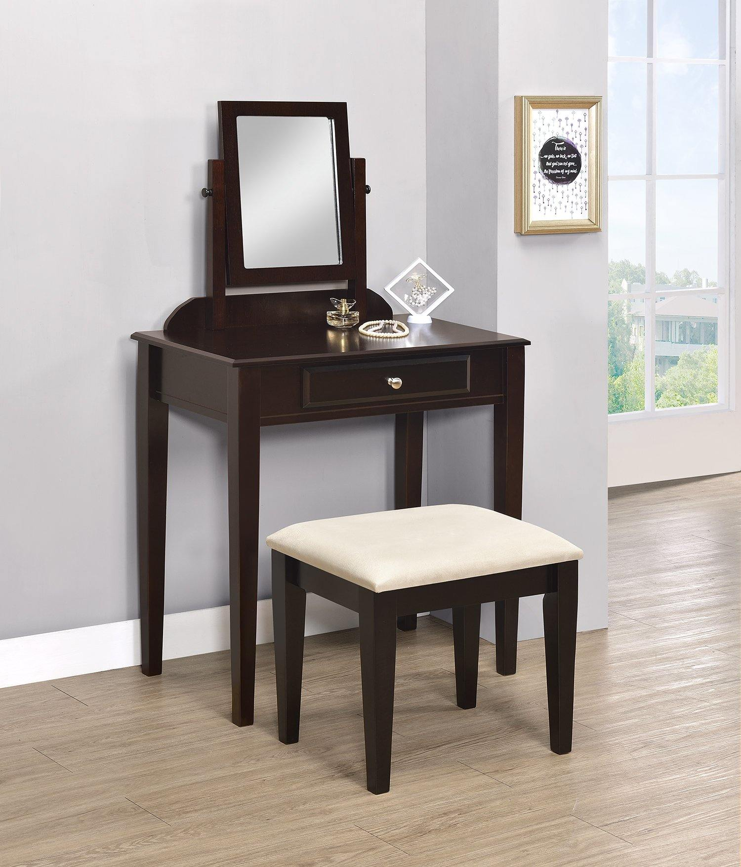 Transitional espresso vanity and stool 300079 Vanity1 By coaster - sofafair.com