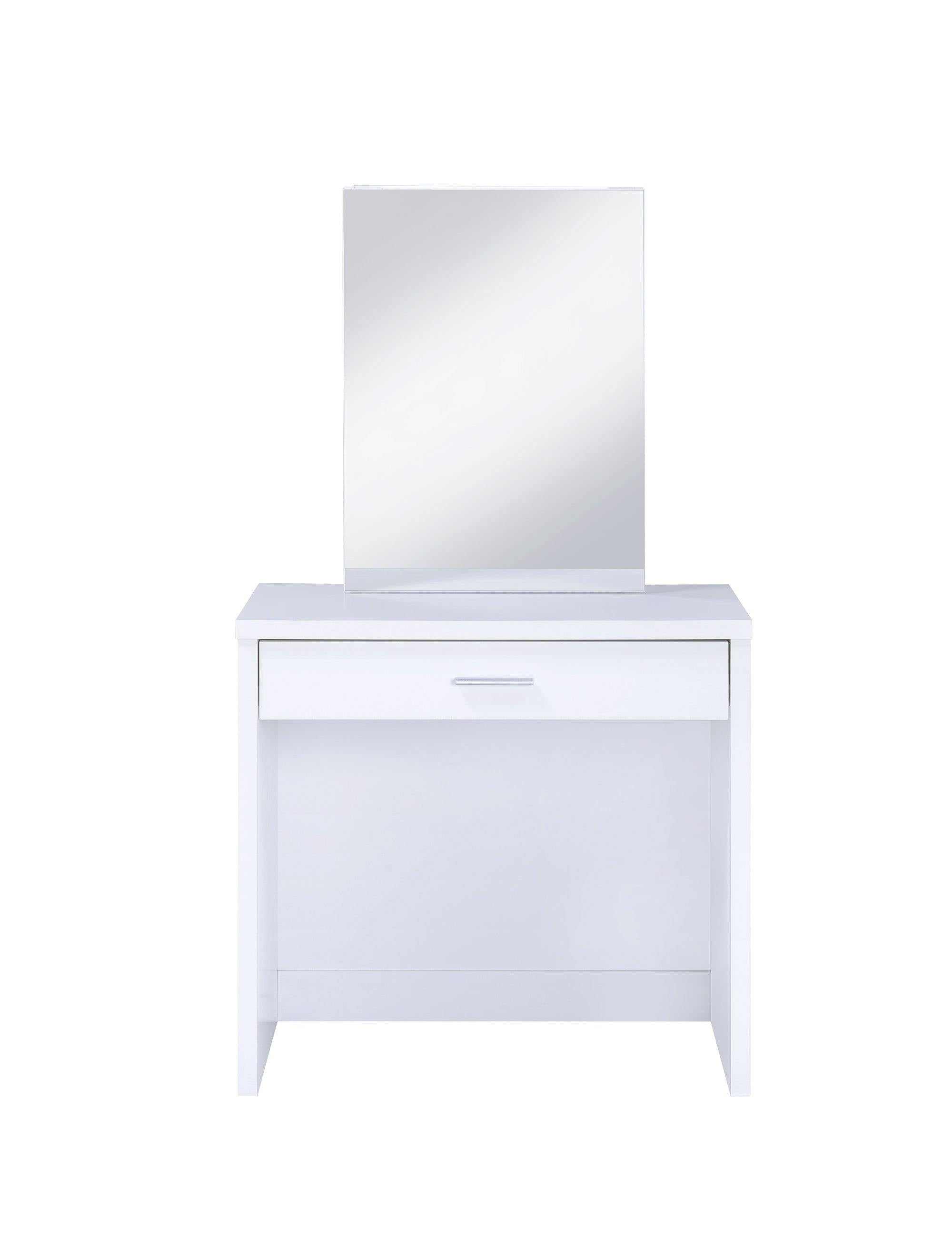 Contemporary white vanity and upholstered stool set 300290 Vanity1 By coaster - sofafair.com
