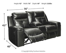 Load image into Gallery viewer, Kempten Reclining Loveseat with Console 8210594