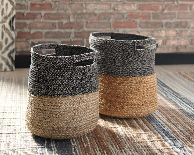 Parrish Natural/Black Basket Set of 2 A2000095 By Ashley Furniture from sofafair