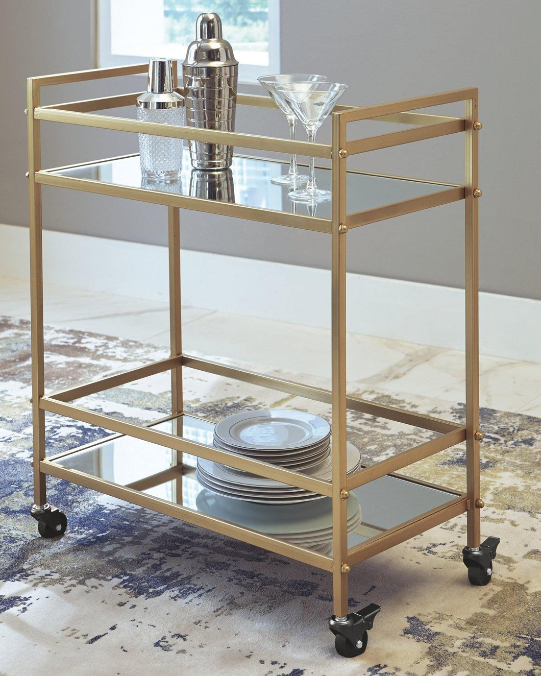 Kailman Bar Cart A4000095 By Ashley Furniture from sofafair