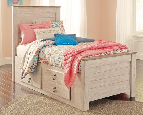 Willowton Twin Panel Bed with 2 Storage Drawers B267B21 Girls Bedroom Furniture By Ashley Furniture from sofafair