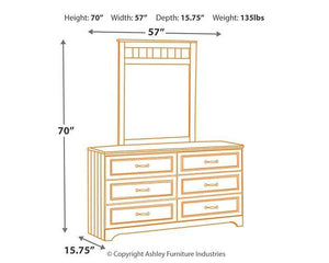 Lulu Dresser and Mirror B102B3 Girls Bedroom Furniture