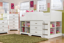 Load image into Gallery viewer, Lulu Twin Loft Bed with 3 Drawer Storage and Bookcase B102B16 Girls Bedroom Furniture