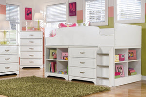 Lulu Twin Loft Bed with 3 Drawer Storage and Bookcase B102B16 Girls Bedroom Furniture