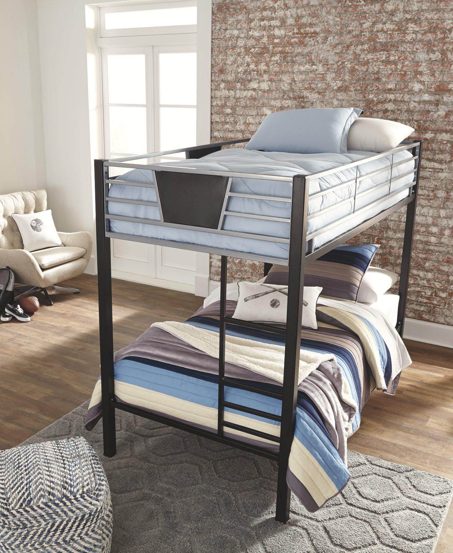 Dinsmore Twin over Twin Bunk Bed with Ladder B106-59 Youth Beds By ashley - sofafair.com