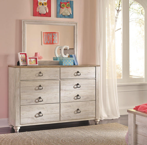 Willowton Youth Dresser and Mirror B267B23 Girls Bedroom Furniture By Ashley Furniture from sofafair