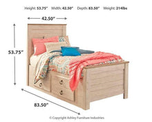 Load image into Gallery viewer, Willowton Twin Panel Bed with 2 Storage Drawers B267B21 Girls Bedroom Furniture