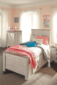 Willowton Twin Panel Bed with 2 Storage Drawers B267B21 Girls Bedroom Furniture