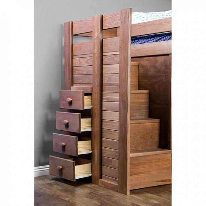 Ampelios AM-BK102 Mahogany Rustic Twin/Twin Bunk Bed By furniture of america - sofafair.com