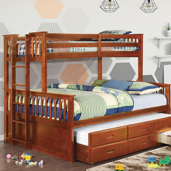 University CM-BK458Q-OAK Twin XL/Queen Bunk Bed By Furniture Of AmericaBy sofafair.com