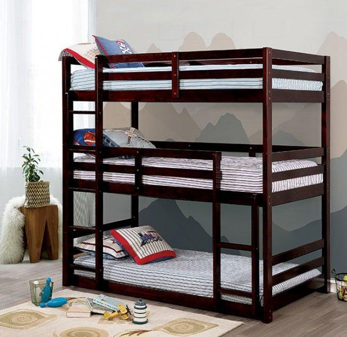 California CM-BK589EX Twin/Twin/Twin Bunk Bed By Furniture Of AmericaBy sofafair.com