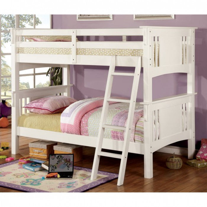 Spring Creek CM-BK602T-WH Twin/Twin Bunk Bed By Furniture Of AmericaBy sofafair.com