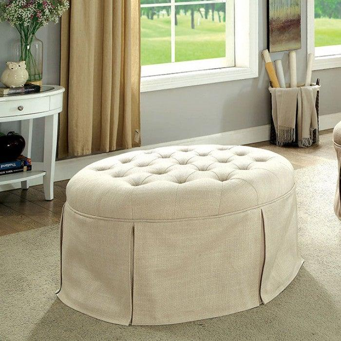 Claes CM-BN6175BG Round Ottoman By Furniture Of AmericaBy sofafair.com