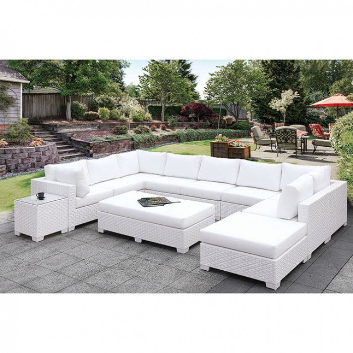Somani CM-OS2128WH-SET1 U-Sectional + Ottoman By Furniture Of AmericaBy sofafair.com