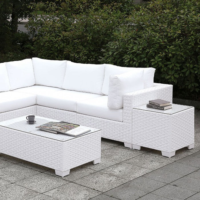 Somani CM-OS2128WH-SET11 L-Sectional + Coffee Table By Furniture Of AmericaBy sofafair.com