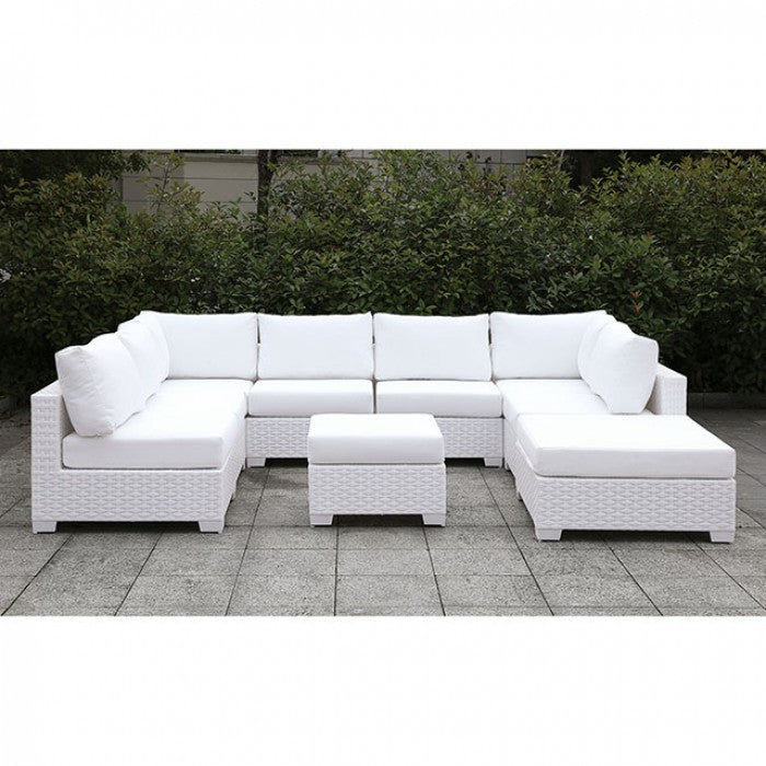 Somani CM-OS2128WH-SET4 U-Sectional + Ottoman By Furniture Of AmericaBy sofafair.com