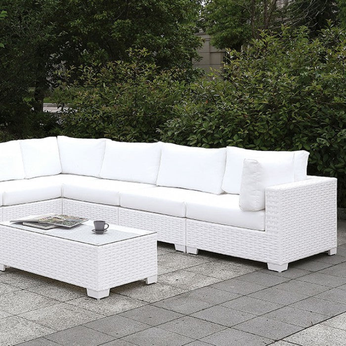 Somani CM-OS2128WH-SET8 L-Sectional + Coffee Table By Furniture Of AmericaBy sofafair.com