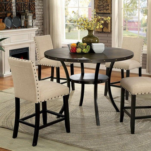 Kaitlin CM3323RPT Round Counter Ht. Table By Furniture Of America from sofafair
