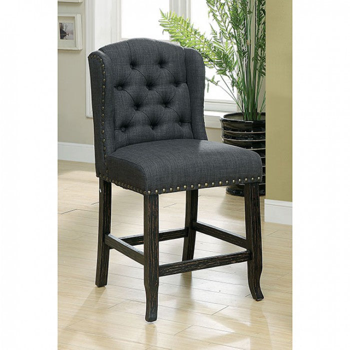 Sania CM3324BK-GY-PCW-2PK Counter Ht. Chair (2/Box) By Furniture Of AmericaBy sofafair.com