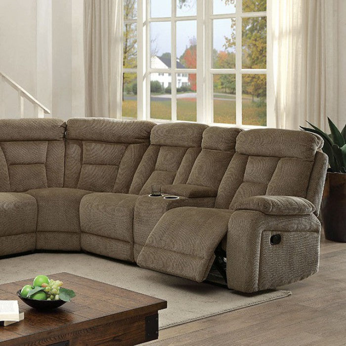 Maybell CM6773MC Sectional w/ 2 Consoles, Mocha By Furniture Of AmericaBy sofafair.com