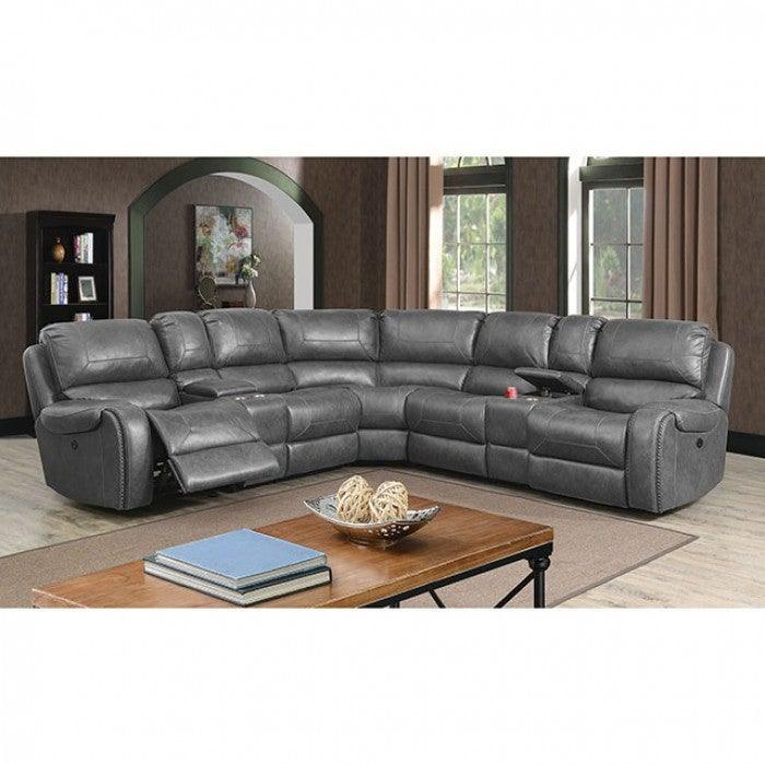 Joanne CM6951GY-PM-SECT Power Sectional By Furniture Of AmericaBy sofafair.com