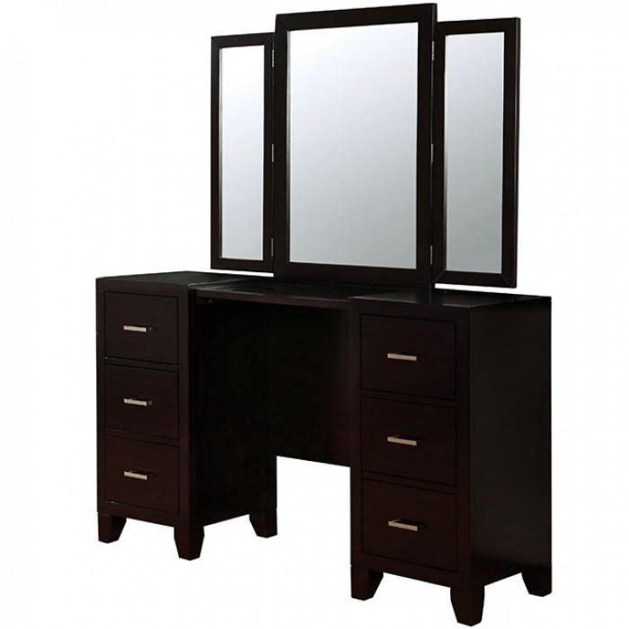 Enrico CM7088V Espresso Contemporary Vanity w/ Stool By furniture of america - sofafair.com