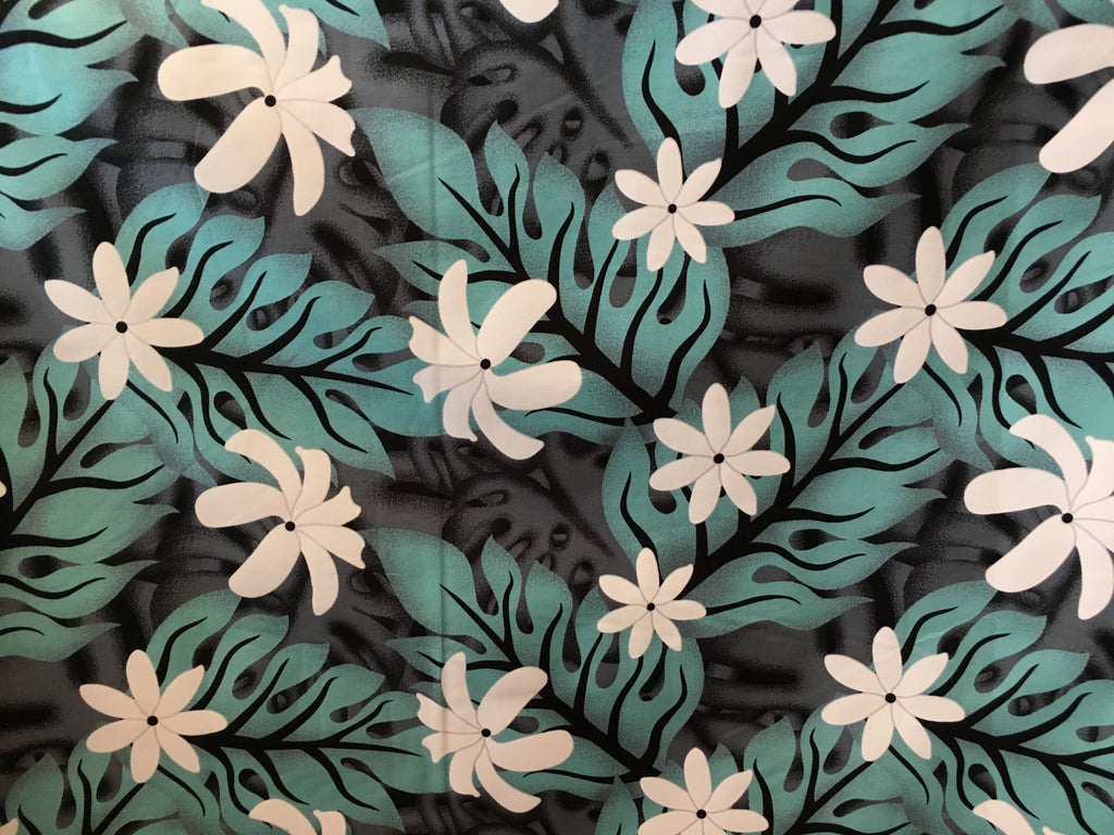 Frangipani pattern - Pale blue/Grey