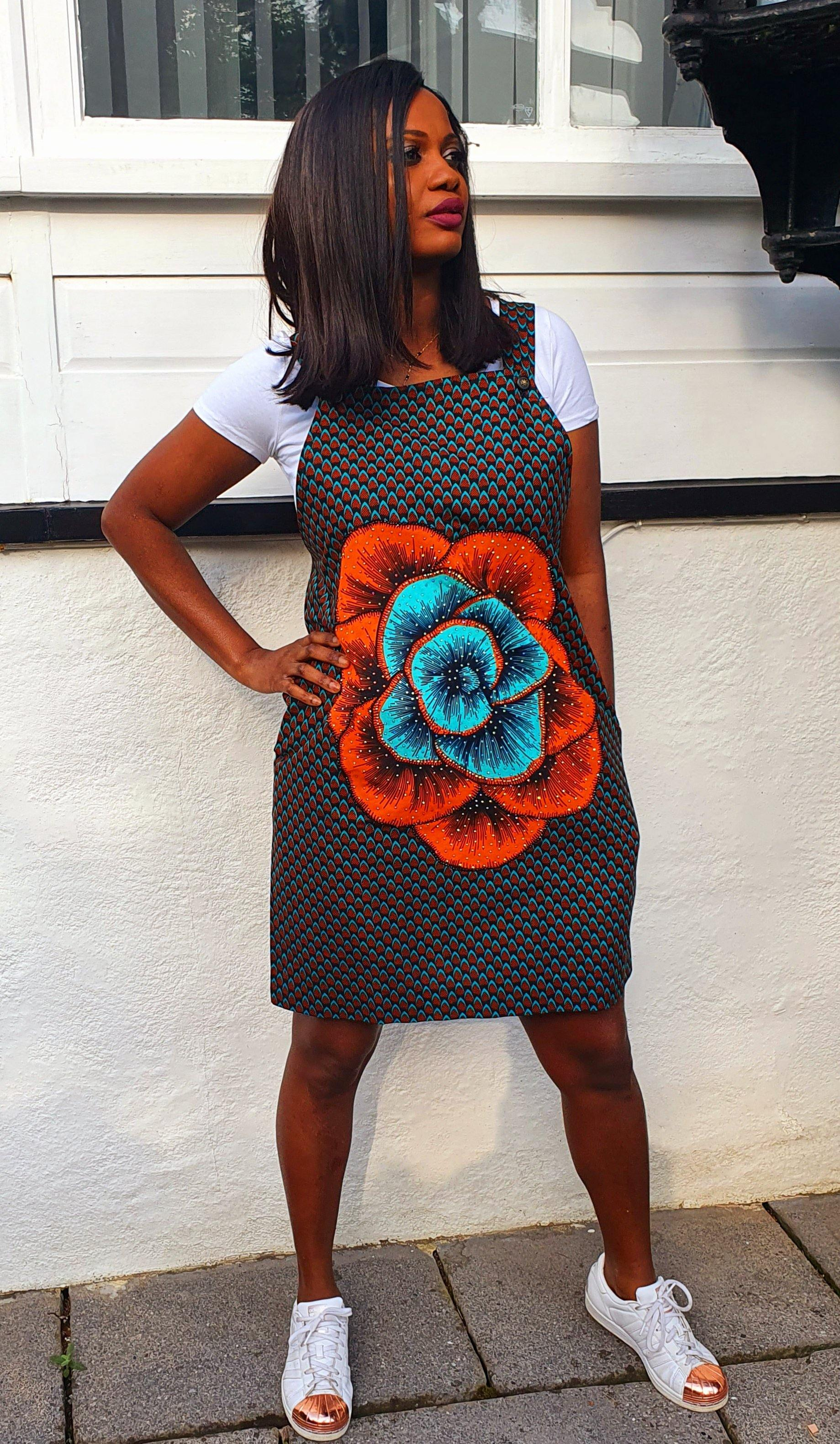 WAA- Embellished Ankara Pinafore - waafashion