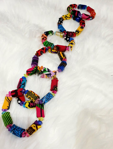 WAA- Beaded African Print Bracelets - waafashion