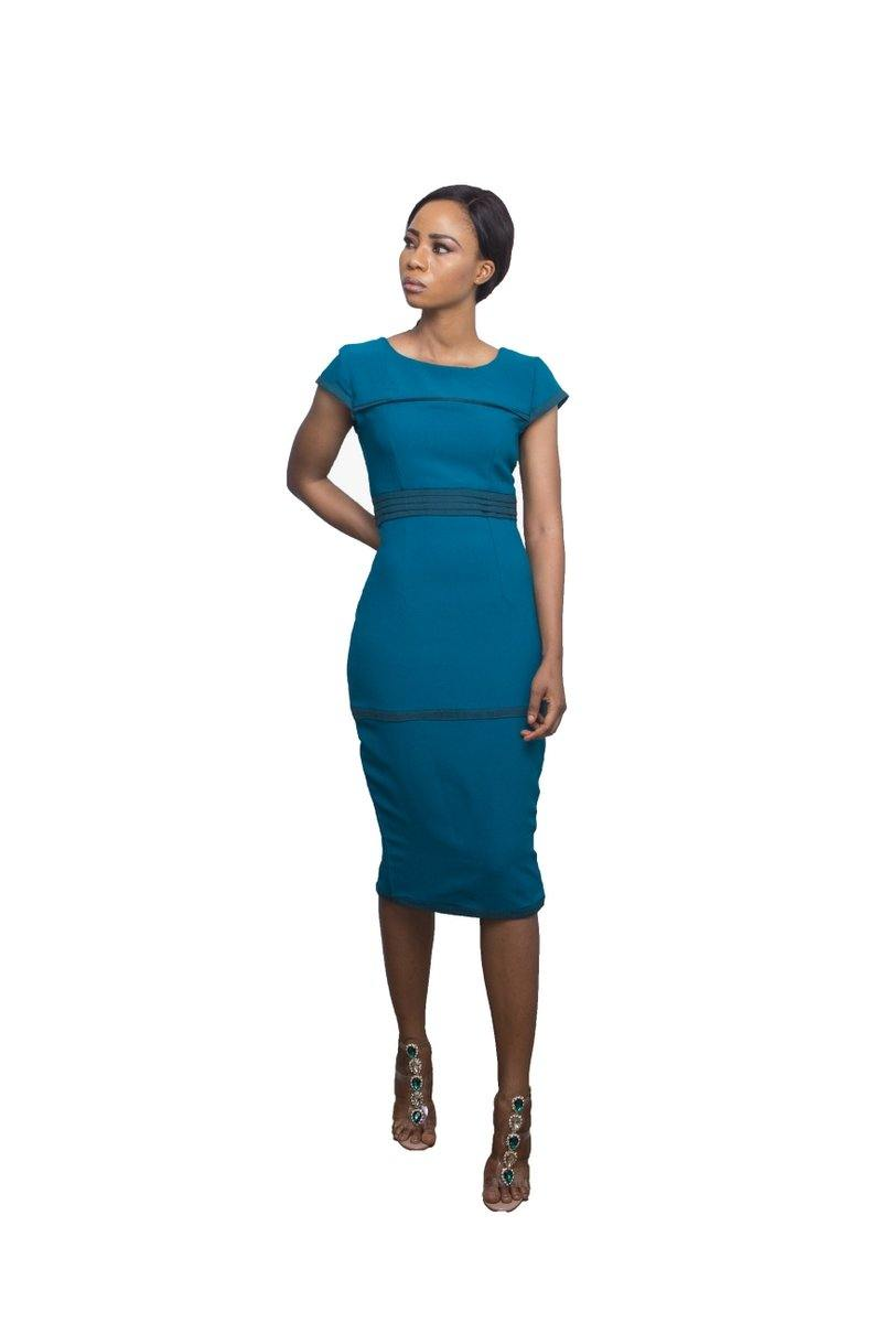 Adéy Soile -Tosin Bodycon Dress with Aso-Oke - waafashion