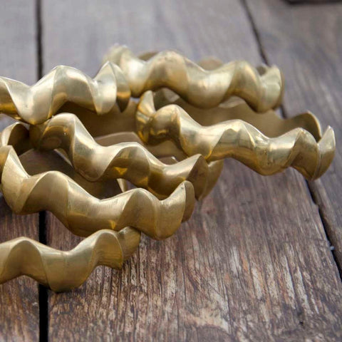 Embody Accessories- Brass Wavy Bangle - waafashion