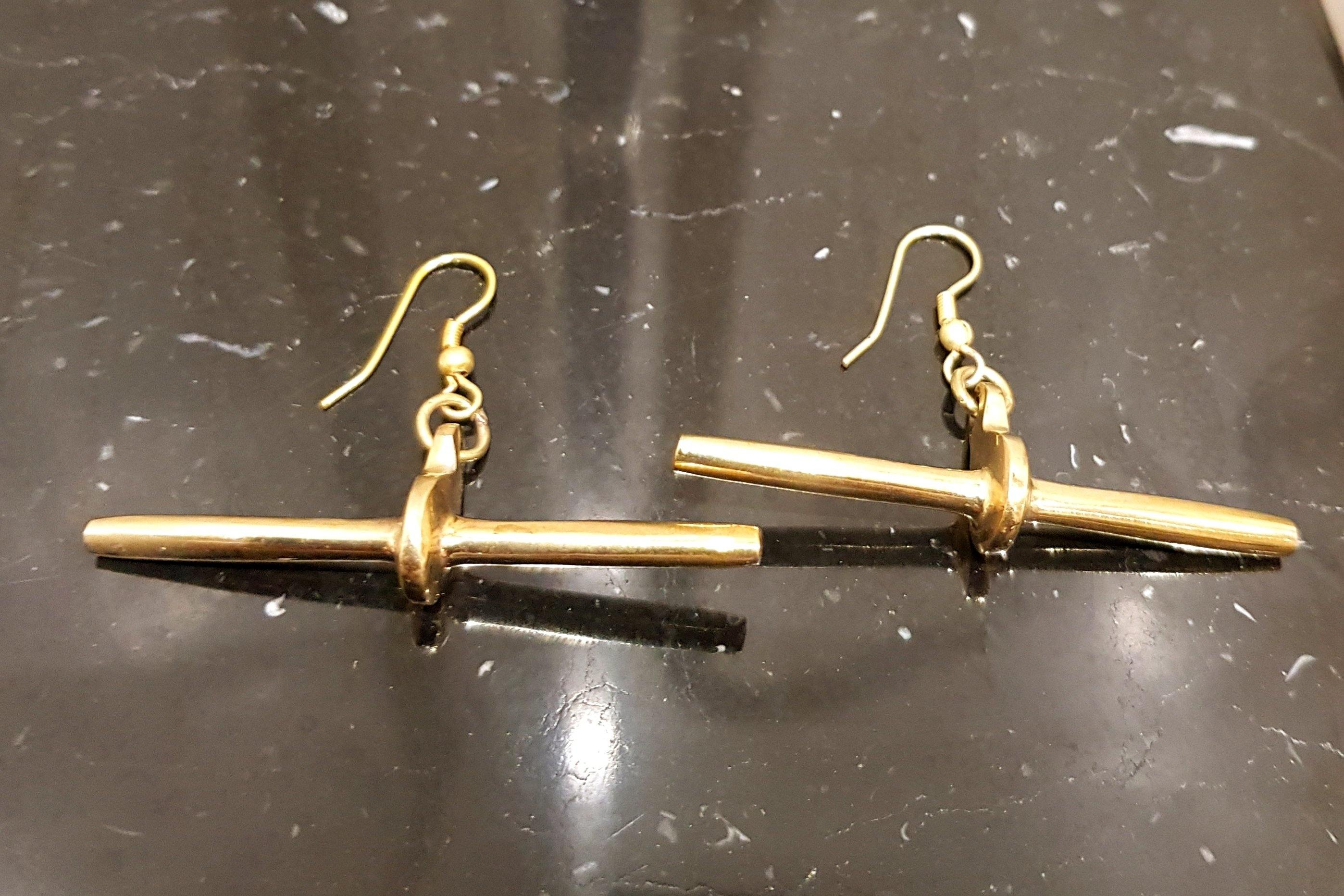 Embody Accessories- Brass Drop Bar Earring - waafashion