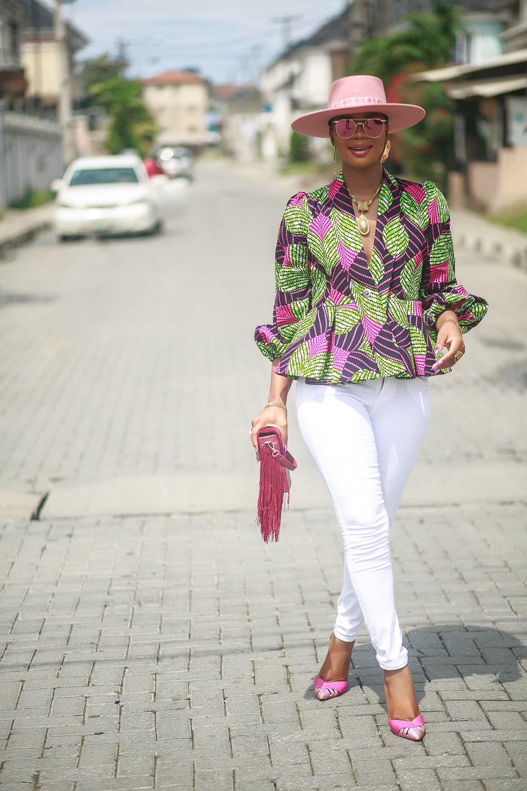 WAA- Ankara Peplum Jacket with Detachable Belt - waafashion