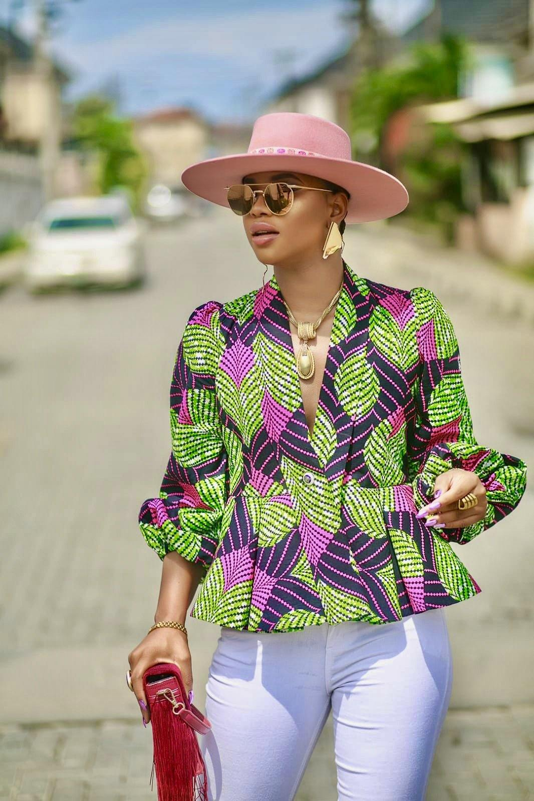 WAA- Ikoyi Ankara Peplum Jacket with Detachable Belt - waafashion