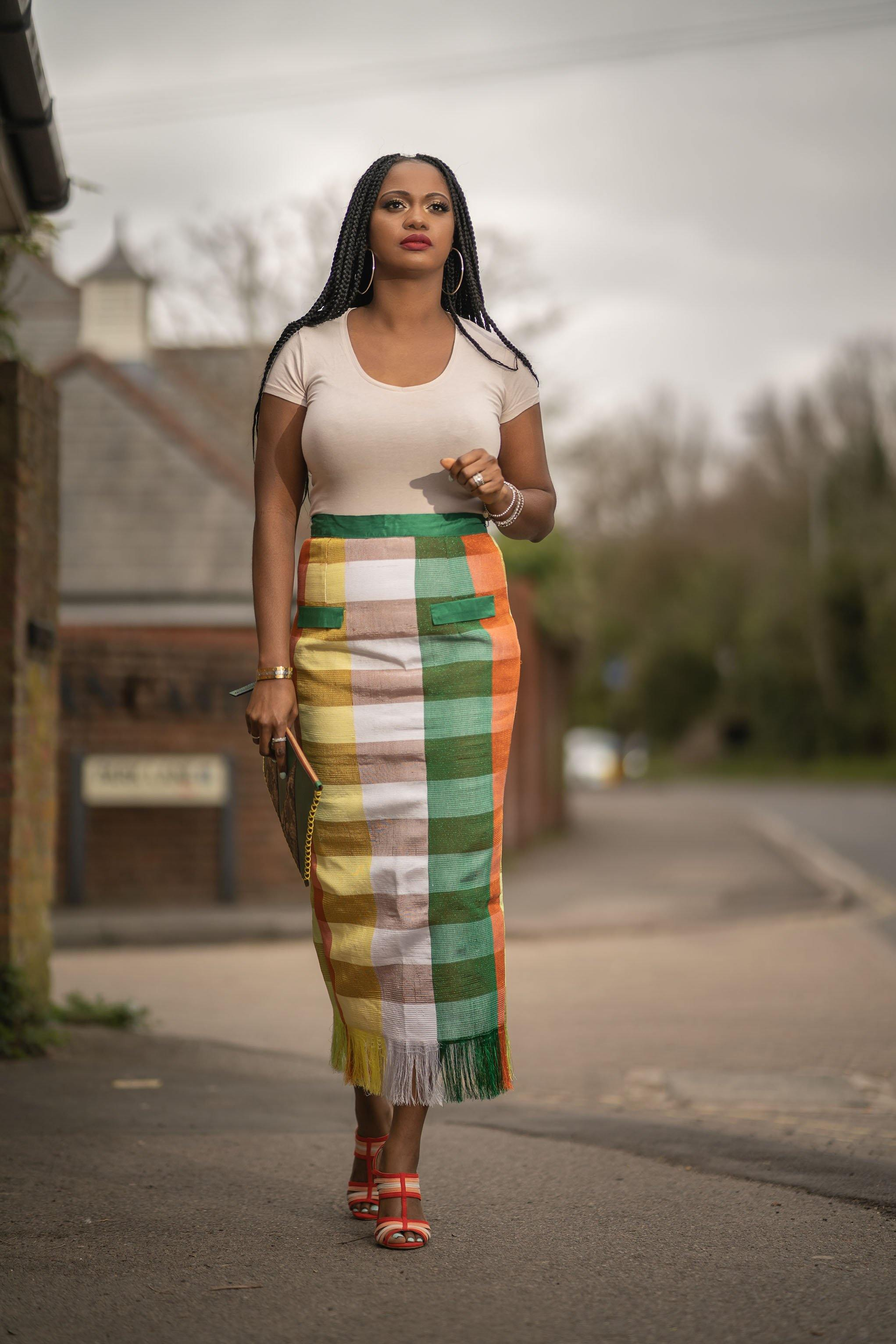 WAA- Aso-oke Midi Pencil Skirt - waafashion
