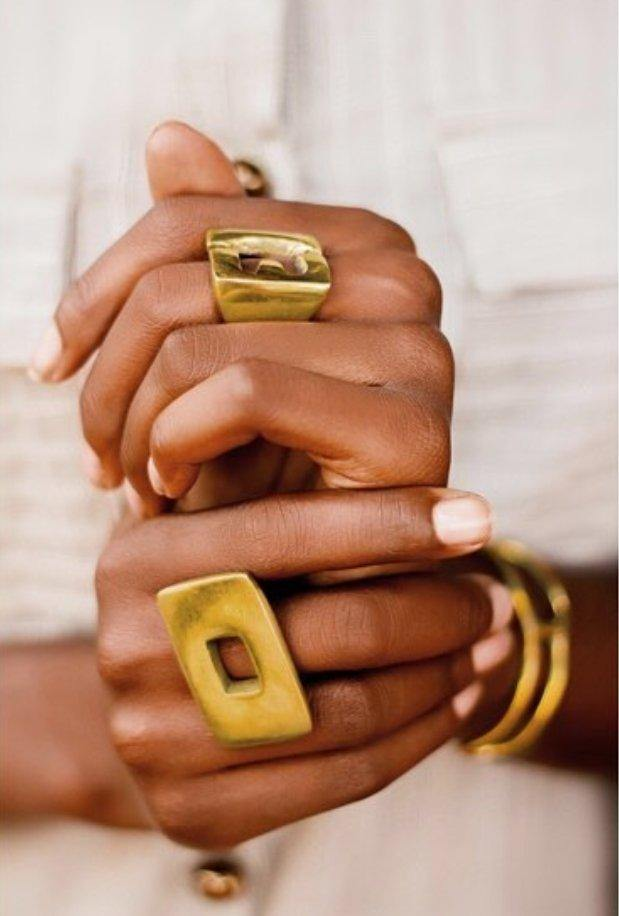 Embody- Brass Rectangular Gap Ring - waafashion