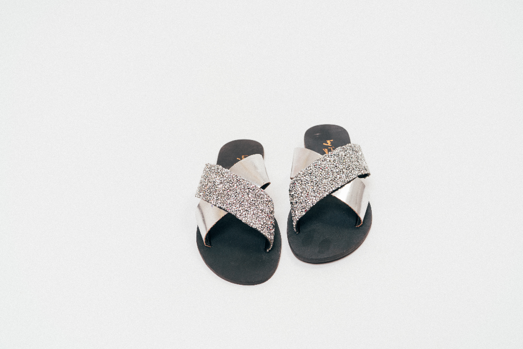 Ivy Barber - Embellished Criss-Cross slides - waafashion