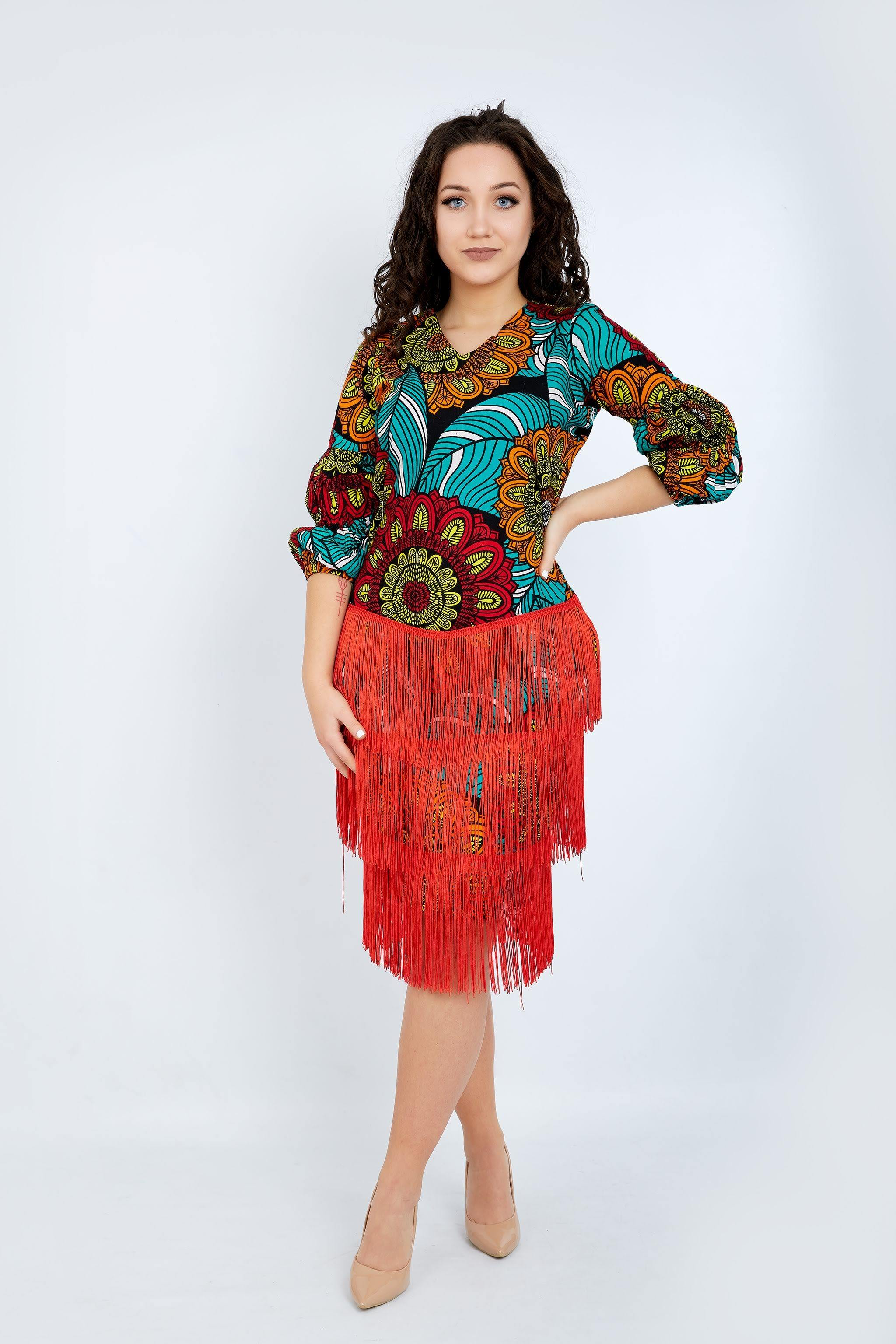 WAA - Ankara Fringe Dress