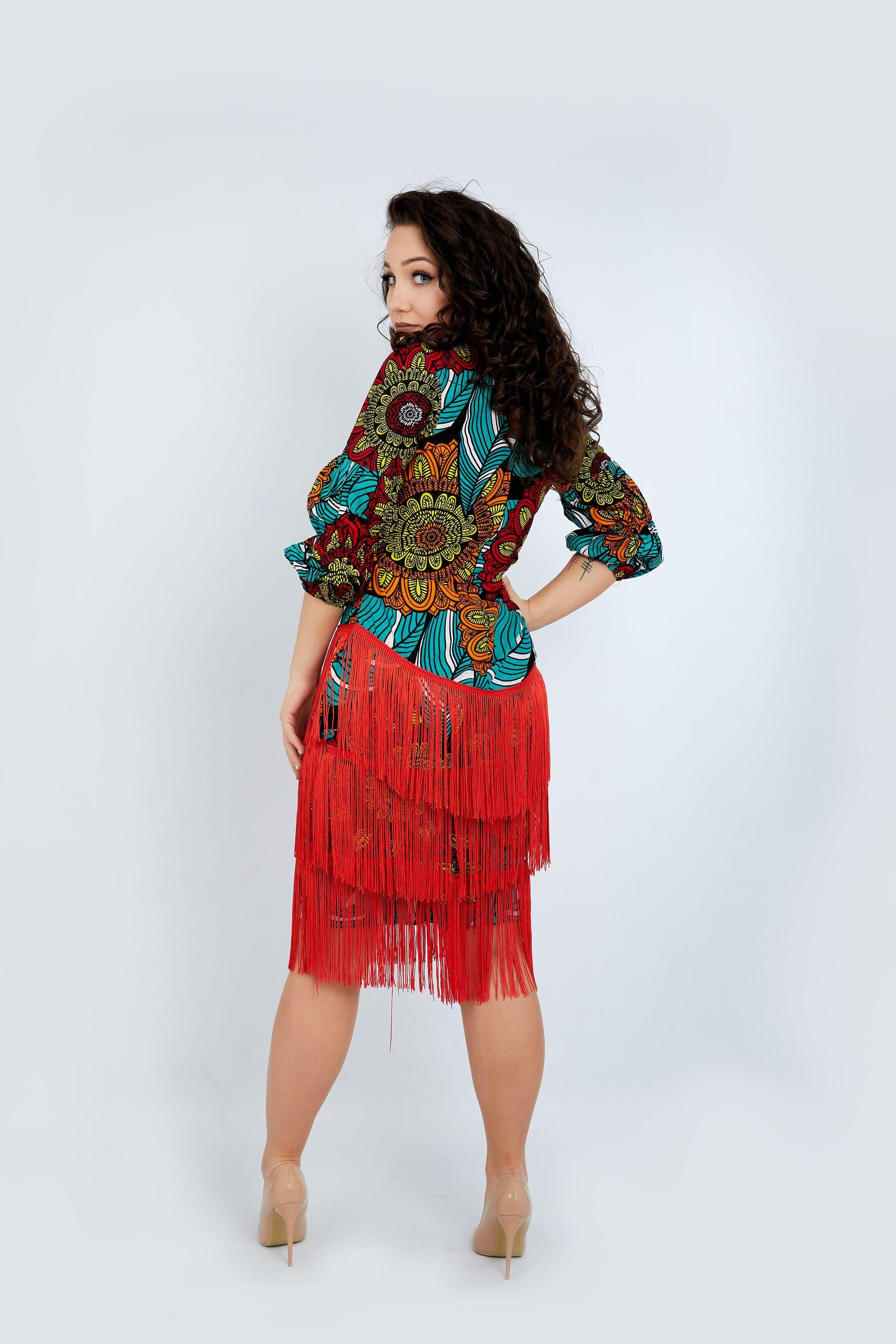 WAA - Ankara Fringe Dress - waafashion