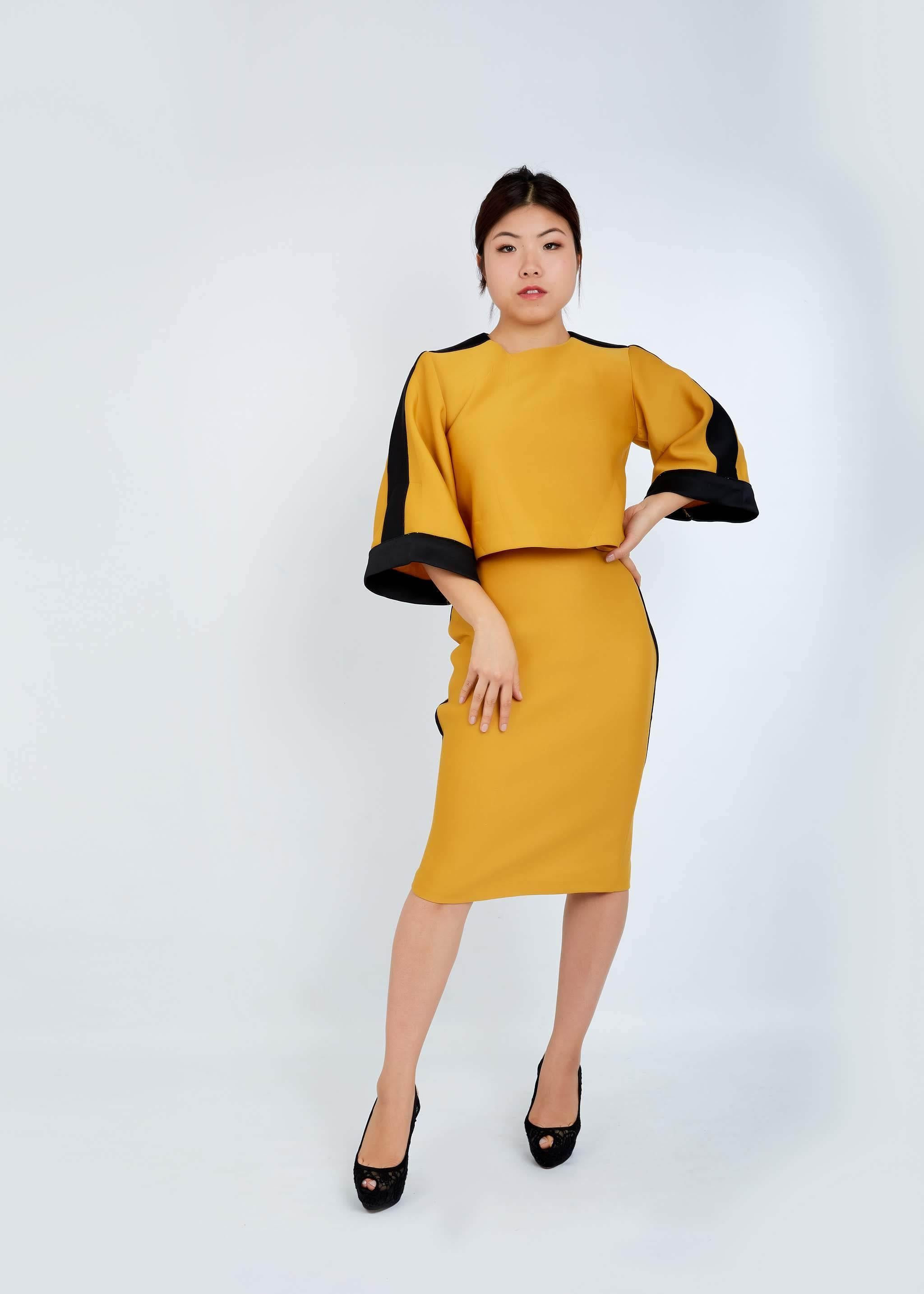 WAA - Contrast Taping Crop Top and Pencil Skirt Set